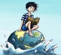 Illustrazione di un bambino che legge un libro seduto sulla Terra