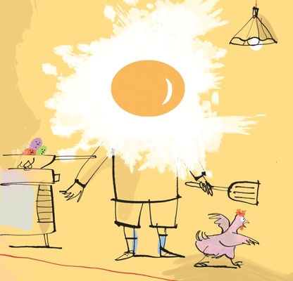 Illustrazione stilizzata di un bambino ai fornelli (autore AntonGionata Ferrari)