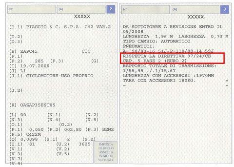 Certificato di circolazione per ciclomotori