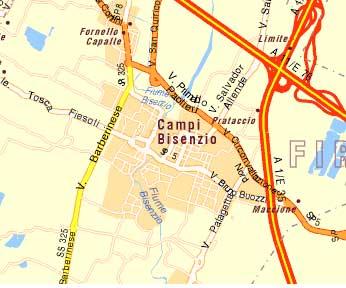 Mappa schematica del comune di Campi Bisenzio ed il suo contesto territoriale