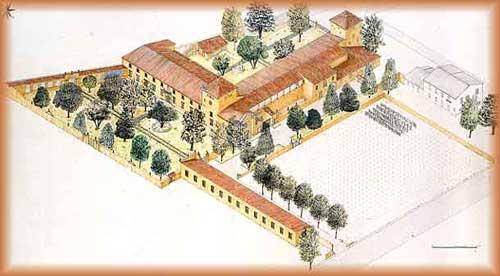 Illustrazione con veduta d'insieme di Villa Montalvo