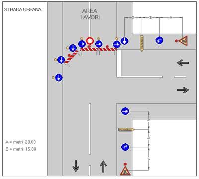 Deviazione di itinerario su strada urbana