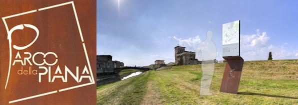 Veduta della Rocca Strozzi dall'argine del Bisenzio