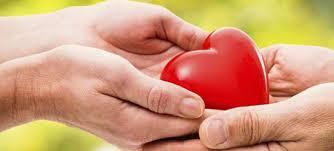 Le mani di due persone sostengono un cuore rosso