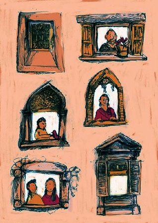 Illustrazione con finestre e persone