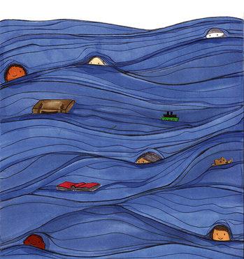 Illustrazione con bambini in mare